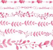 水彩桃红色花卉无缝的样式边界 免版税图库摄影