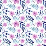 水彩桃红色花和蓝色叶子重复样式 免版税库存图片