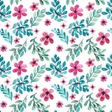 水彩桃红色花,绿色和蓝色离开无缝的样式 免版税库存照片