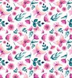 水彩桃红色蝴蝶、花和叶子重复样式 图库摄影