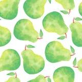 水彩梨无缝的样式 免版税库存照片