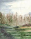 水彩森林木头风景的雾房子 免版税库存照片