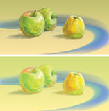 水彩横幅用苹果 库存图片
