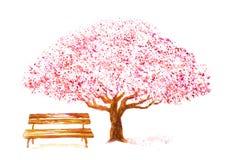 水彩樱桃树和长凳在白色 库存例证
