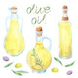 水彩橄榄油瓶橄榄 免版税库存照片