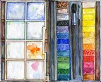 水彩油漆和画笔 免版税库存照片
