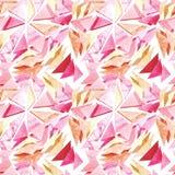 水彩浅粉红色的三角无缝的重复样式 库存照片