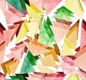 水彩浅红色和绿色三角重复样式 库存照片