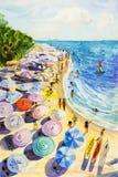 绘画水彩海景五颜六色恋人,家庭度假 免版税库存照片