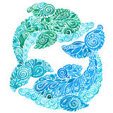 水彩海豚乱画Mehndi种族例证 库存照片