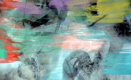 水彩淡色绿色橙色紫罗兰色黑暗的背景 库存照片
