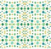 水彩淡黄色和绿色圈子无缝的样式 免版税库存图片