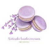 水彩淡紫色蛋白杏仁饼干堆 免版税图库摄影