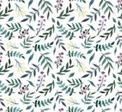 水彩深绿叶子和小的花无缝的样式 免版税库存照片
