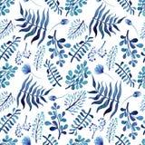 水彩深刻的蓝色花、芽和叶子无缝的纹理 向量例证