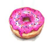 水彩点心 在桃红色釉的水彩多福饼与rainbo 免版税库存照片