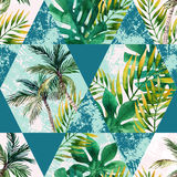 水彩热带叶子和棕榈树在几何形状无缝的样式图片