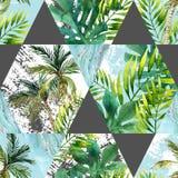 水彩热带叶子和棕榈树在几何形状无缝的样式 图库摄影