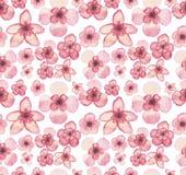 水彩热带浅粉红色的花重复样式 免版税图库摄影