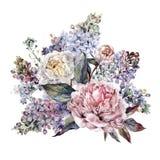水彩牡丹和淡紫色花束 图库摄影