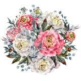 水彩牡丹圆的花束 免版税库存照片