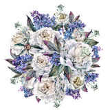 水彩牡丹圆的花束 免版税库存图片