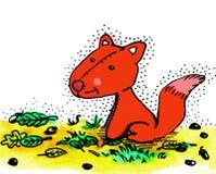 水彩狐狸和叶子 库存图片