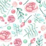 水彩玫瑰、斑点和浅绿色的叶子无缝的样式 库存照片