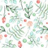 水彩玫瑰、蕨和斑点无缝的样式 免版税库存照片