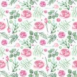 水彩玫瑰、绿色叶子和斑点无缝的样式 库存图片