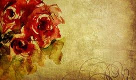 水彩玫瑰和装饰品在老纸 库存照片