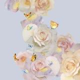 水彩玫瑰和蝴蝶 免版税库存图片