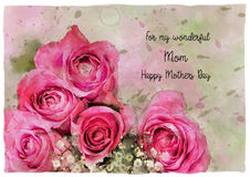 水彩玫瑰母亲节卡片 免版税库存图片