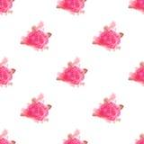 水彩玫瑰色花手画无缝的样式背景 库存照片