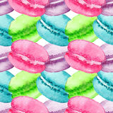 水彩甜点心果子莓果蛋白杏仁饼干无缝的样式背景纹理 免版税库存照片