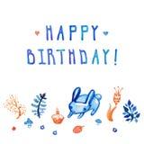 水彩生日快乐卡片和背景与兔宝宝、蛋糕、植物和花与手写的文本 库存照片