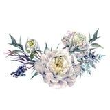 水彩白色牡丹和叶子花束 免版税库存照片