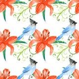 水彩百合和鸟在葡萄酒样式 免版税库存照片