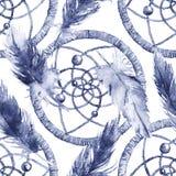 水彩种族部族手工制造羽毛梦想俘获器无缝的样式 图库摄影