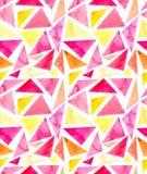 水彩简单的明亮的三角无缝的重复样式 免版税库存图片