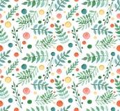 水彩简单的莓果,绿色离开和红色小点重复样式 免版税库存照片