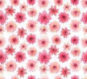 水彩精美桃红色花无缝的重复样式 库存图片