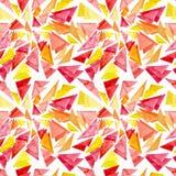 水彩红色和黄色三角无缝的样式 库存图片