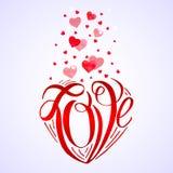 水彩红色心脏 库存图片
