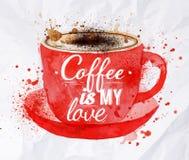 水彩红色杯子热奶咖啡 免版税库存照片