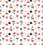 水彩红色花和绿色小点无缝的样式 库存图片