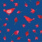 水彩红色鸟和花在蓝色背景无缝的样式 免版税库存图片