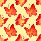 水彩红色黄色蝴蝶无缝的样式背景 免版税库存图片