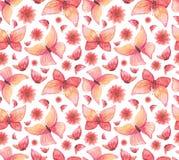水彩红色蝴蝶和花无缝的样式 库存图片