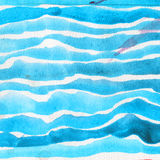 水彩纹理,明亮的蓝色颜色压印的水平的刷子小条在白色背景的 免版税图库摄影